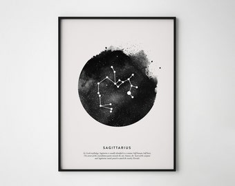Sagittarius Constellation Print, Sagittarius Print, Constellation Print, Printable Poster, Instant Print Art, Wall Printables, Didital print