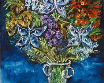 Oil on Canvas Original Signed Painting by Yosl Bergner Colorful Flowers Vase