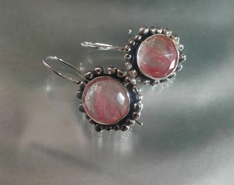 Pink Stone Earrings,Round Stone Earrings, Pink Drop Earrings, Silver Pink Dangles,Cherry Quartz Jewelry,Demure Silver Earrings,Everyday Drop