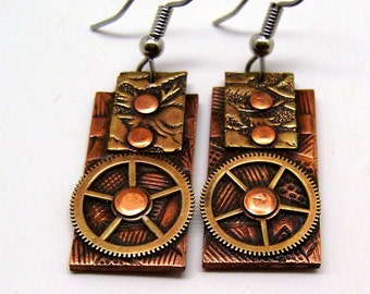 Steampunk jewelry mixed metal copper and brass earrings.