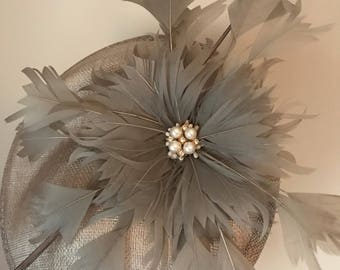 Silver grey ocassion hat/fascinator