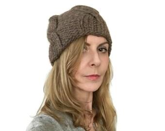 Chunky Bonnet, chapeau de câble, Peyton, hommes chapeau, Womens Beanie, chapeau d'hiver, tricoté à la main, bonnet de laine, Taupe marron, en Pure laine taille M