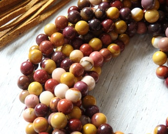 6mm Mookite beads - one strand of richly colored autumnal beads, natural gemstone beads, 6mm round beads,