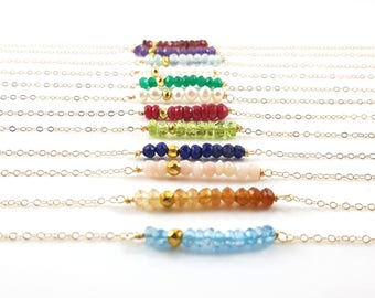 Gemstone Bar Necklace - Gemstone Birthstone - Dainty Bar Necklace - 14k Gold Fill Jewelry - Wire Wrapped Necklace - Gift for Her