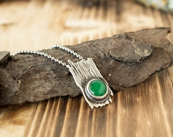 Tree Bark Pendant | Aventurine and Sterling Silver