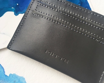 Fathers Day Gift - Leather Card Holder - Dark gray leather - Cobalt blue textile lining - Mitte brand