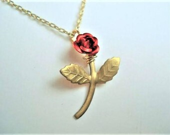 Red Rose Necklace Long Stemmed Rose Rose Pendant Rose Jewelry
