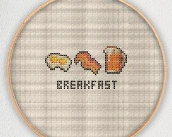 Breakfast Eggs Bacon Beer Cross Stitch Pattern - Instant Download PDF