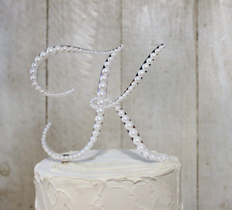 Vintage Monogram Wedding Cake Toppers Pearl Monogram Wedding...