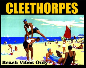 Cleethorpes beach vibes only seaside vintage style metal advertising wall plaque sign or framed picture frame