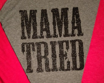 Mama Tried baseball tee black glitter