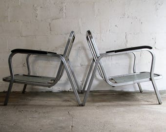 Mid Century Modern Set of Chrome Lounge Chairs S/2