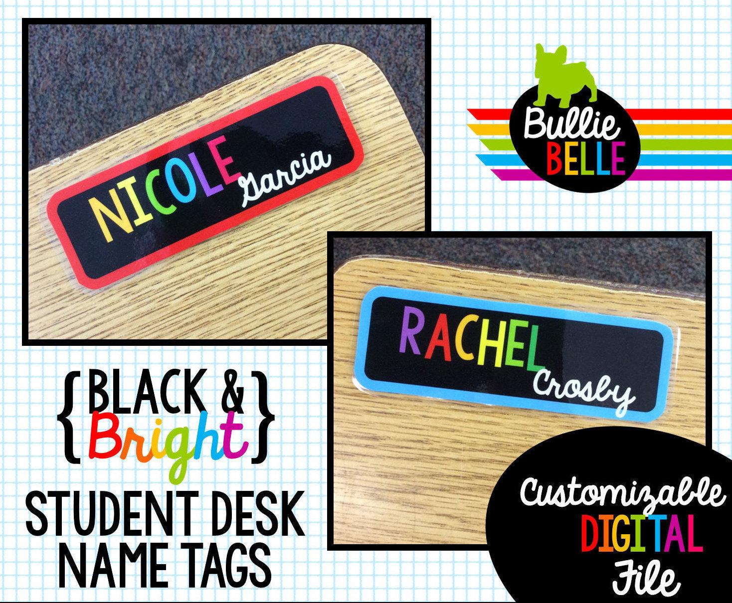 Student Name Plates: Black & Bright Student Desk Name Tags Student Nameplates