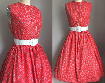Vintage 1950's Patriotic Red White and Blue Fourth of July Novelty Print Dress Size Small