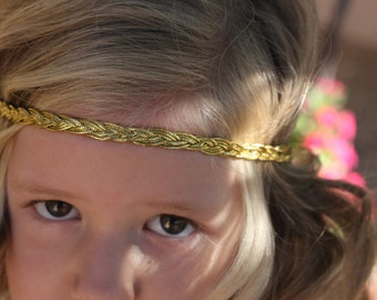 Gold Braided Headband  Metallic Yellow Gold headband boho headband