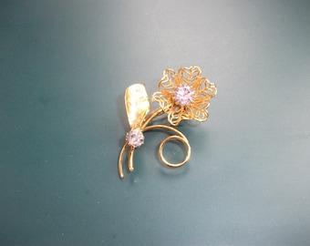 Vintage Lavender Glass Rhinestone Floral Brooch Pin
