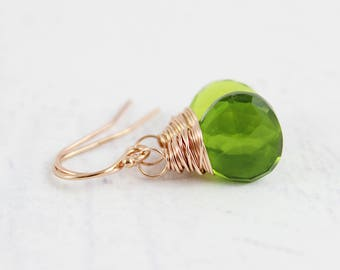 Green Quartz Earrings, Rose Gold Earrings, Quartz Gemstone Earrings, Gemstone Drop Earrings, Wire Wrap Earrings, Green Rose Gold Earrings