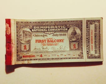 Democratic National Convention. Chicago 1940 first balcony booklet of nine tickets
