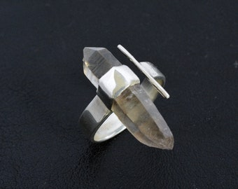 Double terminated smokey quartz crystal adjustable silver ring, mens womens stackable steampunk sterling band