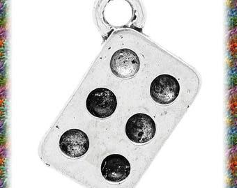 8 matte silver domino charms