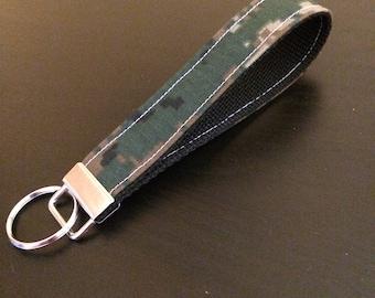 Digi camo fabric keychain/keyfob/wristlet