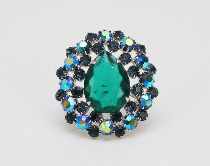 Vintage 1960s Emerald and Turquoise Rhinestone Brooch