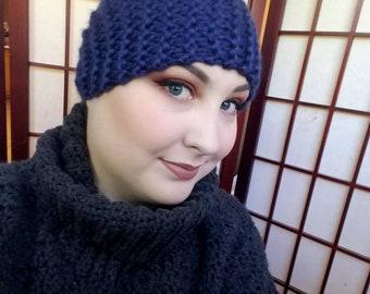 Garter Stitch Headband - Dark Blue