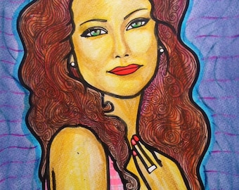Female portrait (Mixed media on paper). Size: A4