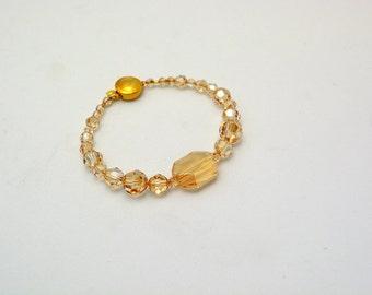 Stunning Swarovski Bracelet. Vermeil Box Clasp. All Swarovski Crystal Golden Shadow Beads w/ 18mm focal graphic. Handcrafted Bracelet. OOAK