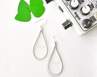 silver dangle earrings - guitar string jewelry