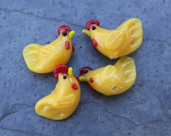 4 small yellow chicken beads - lampwork glass - jewelry and craft supplies - rooster hen farm animal
