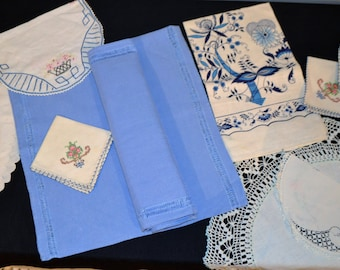 Blue Linen Country Cottage Collection ........Ten Pieces