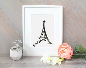 Eiffel Tower Watercolor Print