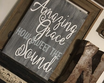 Amazing grace hand painted barnwood/pallet style sign