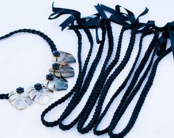Black neck piece  braided nylon ribbon base