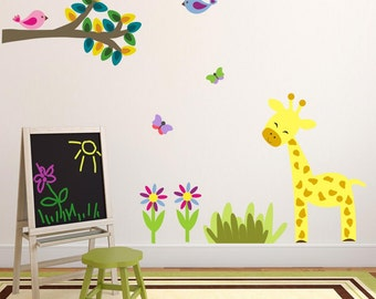 Giraffe Wall Decal - Jungle Nursery - Nursery Wall Decor - Animal Wall Art - Nursery Wall Decals - Removable and Repositionable - FA046