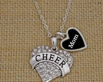 Cheer Mom Necklace with Two Charms