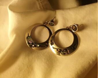 Vintage sterling silver abalone shell earrings