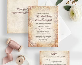 Garden wedding invitations vintage floral wedding invites elegant wedding invitations rsvp set {Cleveland design}