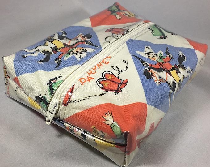 Make Up Bag - Retro Cowboy Kids Box Shaped Cosmetic Bag