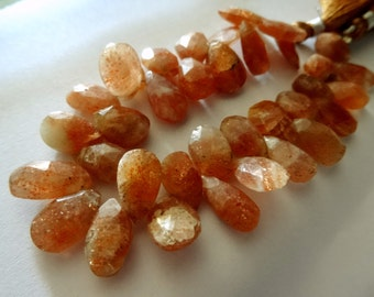 7-10- mm Natural Sunstone Briolette Faceted Pears 8x1/2 inch Strand- Qualitty AA-15  PCS