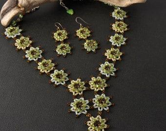 Beadwoven flower spring necklace & earrings set