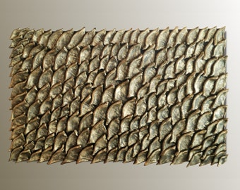 Gold Wall Sculpture - Wood Wall Art - Textured Wall Panel - 3D Wall Decor - Abstract Wall Art - Gold Painting