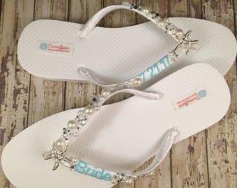 Shanna Personalized Bridal Flip Flops, Starfish Custom Flip Flops, I Do Flip Flops Starfish Bridal Sandals Beach Wedding Shoes Wedding Shoes