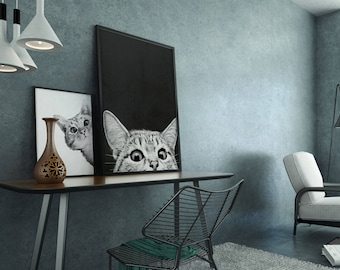 Cat Paint by Number with frame/ cat art/ black cat/ white cat/ Framed/ PBN/ DIY painting/ Acrylic Painting/ Cat lover gift