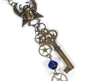 Steampunk Jewelry Necklace WING SCARAB Skeleton Key Gears Blue Glass Bead, Boho Jewelry, Mens Womens UNISEX - Jewelry by Steampunk Boutique