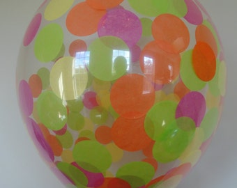 """3, 6 or 10 Count: Large 16"""" Confetti Balloons with Neon Confetti- Wedding, Shower, Birthday, Baby, 1st Birth, Graduation Decor, Prom, Spring"""