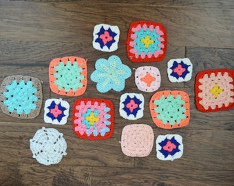 Assorted vintage Granny Squares multi-colored, 15 Afghan Pieces, Craft Supply, Crochet Pieces