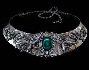 Snake Necklace - Salazar Slytherin - Reptile - Mythical - Medusa Gorgon - Witchy - Green Emerald - Harry Potter - Severus Snape - Malfoy