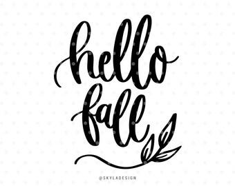 Hello fall svg file, Svg files, Autumn svg, Fall svg, Svg cut files, Quote svg, Cute svg, Sweet svg, Handlettered svg